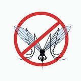 Mosquito warning sign 5. Anti mosquito sign with a funny cartoon mosquito.  Vector illustration Stock Photo
