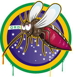 Mosquito zika cartoon. On brazil flag Royalty Free Stock Photo