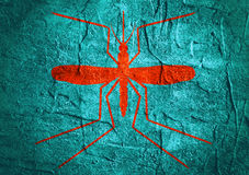 Mosquitoe silhouette on concrete textured surface Stock Image