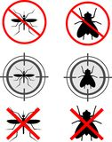 Mosquitoes and flies. Symbols for products that kill mosquitoes and flies Stock Photography