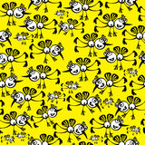 Mosquitoes on yellow  seamless pattern Stock Images