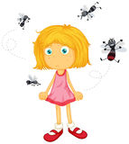 Mosquitos biting little girl. Illustration Royalty Free Stock Photo