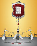 Mosquitos paradise. Mosquitos under a huge blood bag, waiting for 'the drop' to fall vector illustration