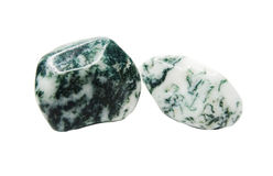 Moss agate with chalcedony geological crystal. Isolated royalty free stock images