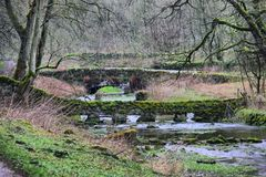 Moss covered bridges over a small river Royalty Free Stock Image