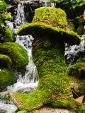 Moss covered cowboy boot and hat. A moss covered cowboy boot in front of a lush tranquil waterfall royalty free stock image