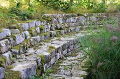 Moss covered drystone wall in a garden Stock Photos