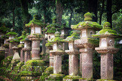 Moss covered lanterns Royalty Free Stock Image