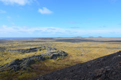 Moss Covered Lava Field and Lava Rock in Iceland Stock Photo