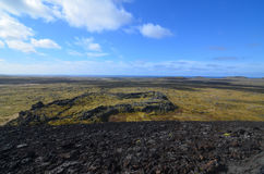 Moss Covered Lava Field Surrounding Eldborg Crater Royalty Free Stock Photo