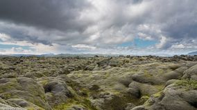 Moss-covered lava fields. 4K Version of Time Lapse of the expansive moss-covered lava fields and mountains in Iceland Royalty Free Stock Images