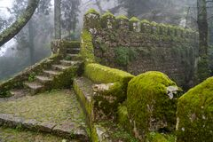 Free Moss Covered Old Steps And Stairs Of The Moorish Castle Castle Of Moors On A Foggy, Misty Day In Sintra Portugal Stock Photography - 170466152