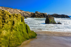 Moss Covered Rocks at Leo Carillo State Beach Stock Photos