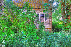 Moss covered roof of abandoned house HDR. Stock Photography