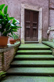 Moss-covered stairs, closed door, Rome Stock Photo