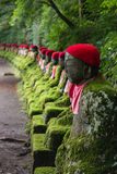Moss covered statues of Jizo in Nikko Royalty Free Stock Photography