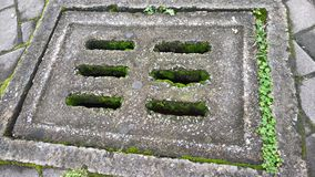 A moss covered well cover stock photo