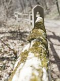 Moss covered wooden fence with heavy bokeh stock photography