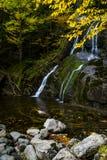 Moss Glen Falls - Wasserfall und Fall/Autumn Colors - Vermont lizenzfreies stockfoto