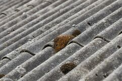 Moss Grow On Old Asbestos Roof Royalty Free Stock Photos