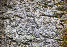 Moss-grown surface of the old stone cross Royalty Free Stock Images