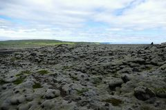 Moss landscape with stones covered in thick layers of moss, Iceland stock photo
