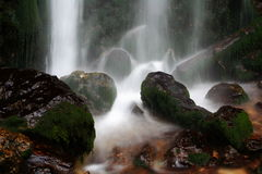 Moss On Rocks And Waterfall Stock Photos