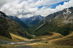 Moss Pass of Nelson Lakes NP. High and beautiful mountaneous pass located at Nelson Lakes National Park stock photos