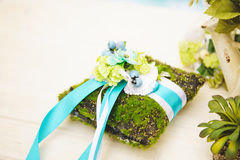 Moss Pillow for Wedding Rings Stock Photography