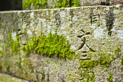Moss in a Shinto temple Stock Image