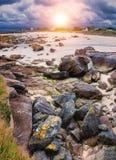 Moss stone and coastline in Brittany Bretagne, France.  stock photo