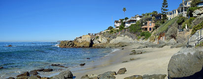 Moss Street Cove, Laguna Beach, California. Panorama view of Moss Cove, a stunning, secluded cove at the end of Moss Street at the south side of Laguna Beach Stock Photography