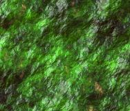 Moss under water. Mountain rocks covered in moss forming wet rock surface and texture Royalty Free Stock Photos
