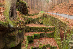 Moss wall, Saxon Switzerland. Saxon Switzerland (German: Sächsische Schweiz) is a hilly climbing area and national park around the Elbe valley south-east of Stock Photo