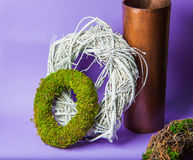 Moss and wooden wreaths. Moss and wood handmade wreaths with copy space for text Stock Photography