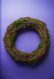 Moss and wooden wreaths. Moss and wood handmade wreaths with copy space for text Royalty Free Stock Images