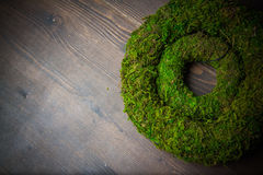 Moss and wooden wreaths Stock Photos