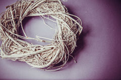 Moss and wooden wreaths. Moss and wood handmade wreaths with copy space for text Stock Photos