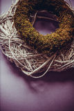 Moss and wooden wreaths Stock Photo