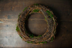 Moss and wooden wreaths Royalty Free Stock Photos