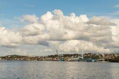 Mossa som ses från den Oslo fjorden, Norge arkivfoton