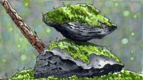 Mossastenar stock illustrationer