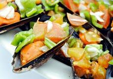 Mosselen met drie groenten Stock Afbeeldingen