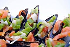 Mosselen met groenten Royalty-vrije Stock Afbeeldingen