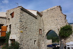 Mosset village. In Pyrenees orientales,Languedoc-Roussillon region of France Royalty Free Stock Photos