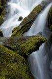 Mossigt vaggar och faller på den norr Umpqua floden Royaltyfri Bild