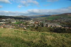 Mossley in Lancashire. Overlooking the Town of Mossley with Saint Georges Church in foreground, taken from Luzley Road Stock Photography