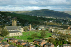 Mossley in Lancashire. Mossley with ST Georges Church tken from Luzley Road in Mossley Stock Photography