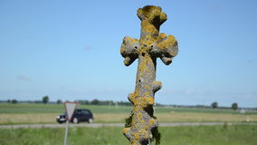 Mossy cross car drive stock footage