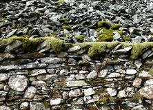 Mossy dry stone wall Royalty Free Stock Images